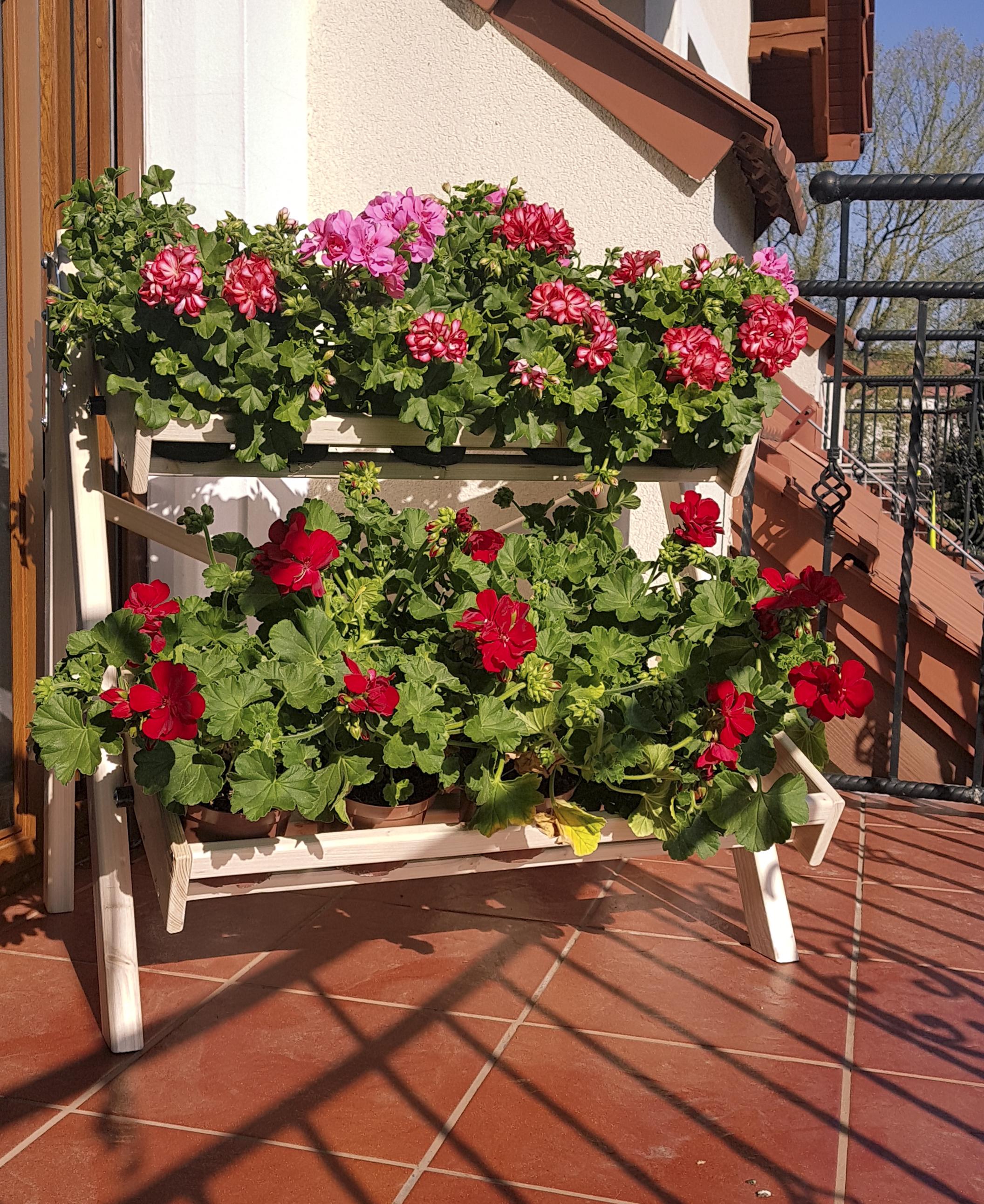regał balkonowy z kwiatami